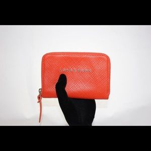 Longchamp Luxury Orange Zippered Wallet